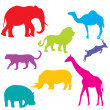 Stock Photo: Set of Africanimals, isolated and grouped objects over white