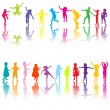 Stock Photo: Set of chilldren silhouettes in different colors