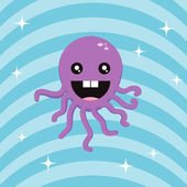 Purple octopus on blue background — Stock Photo