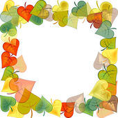 Photo frame with colored autumn leaves — Stock Photo
