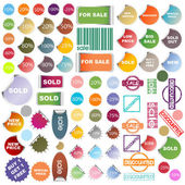 Set of colored promotional elements, stickers and stamps — Stock Photo