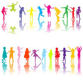 Set of chilldren silhouettes in different colors — Stock Photo