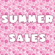 Background with pink stylized flowers and banner with Summer Sal - Stock Photo