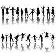 Foto Stock: Hand drawn children silhouettes playing