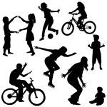 dessiné des silhouettes d'enfants jouant à la main — Photo