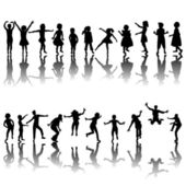 Hand drawn children silhouettes playing — Stock Photo