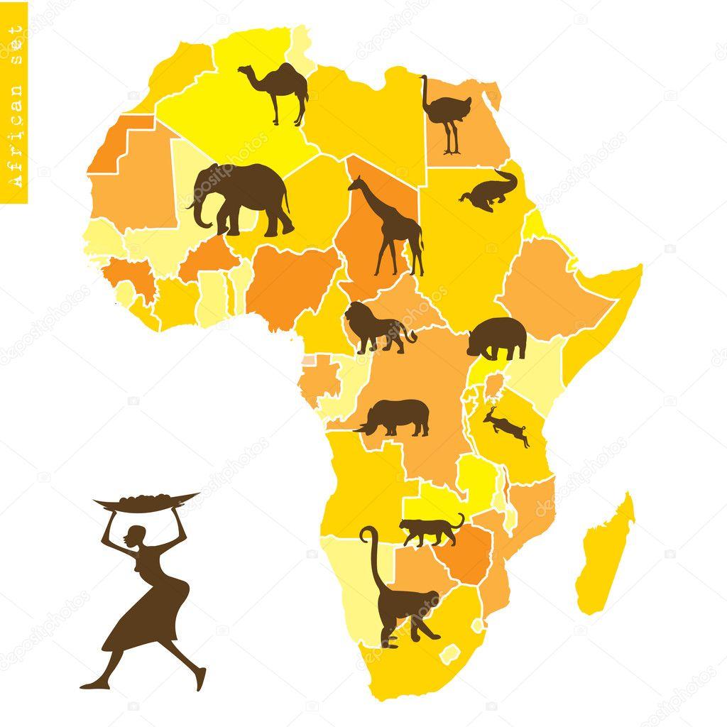 非洲设置与地图和动物