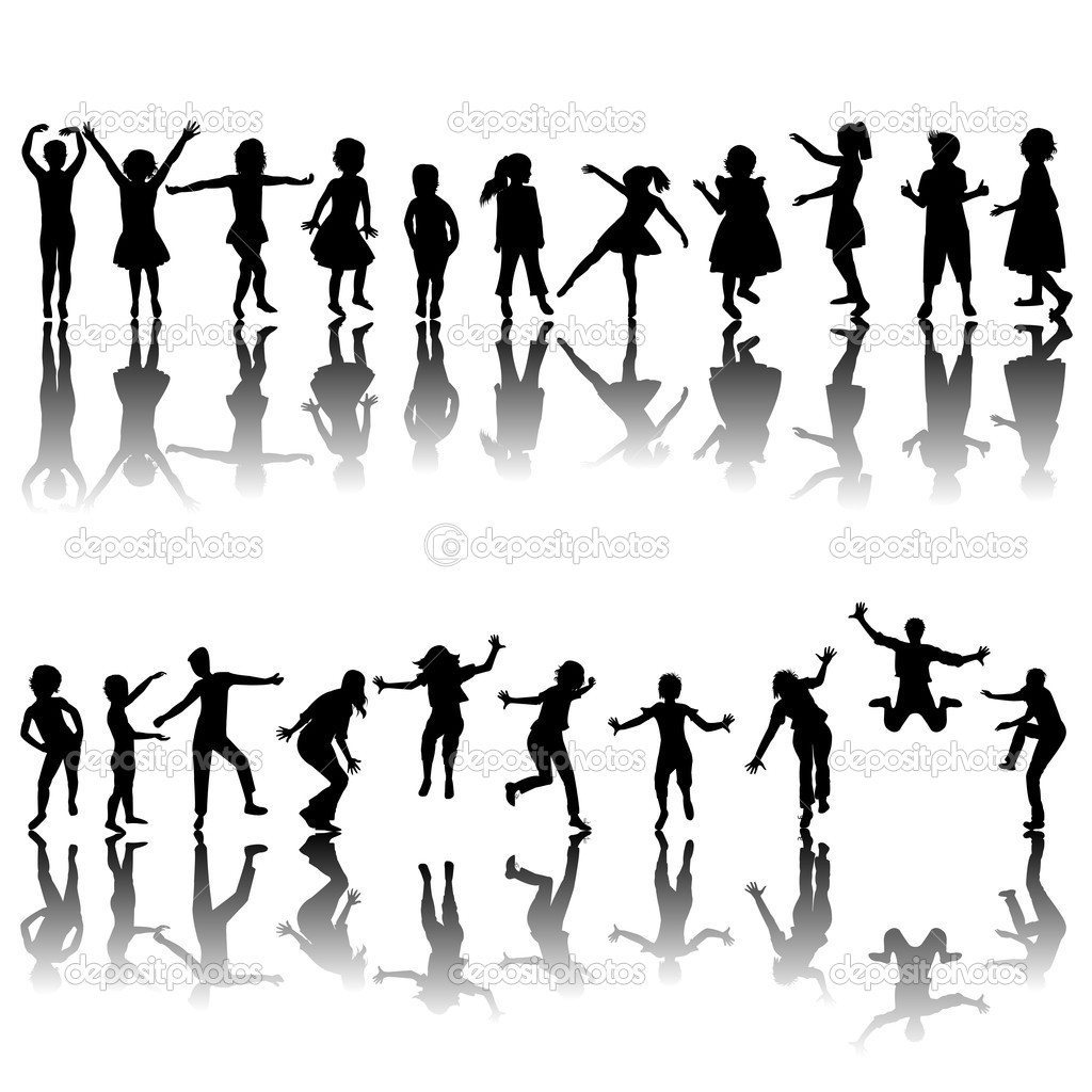Hand drawn children silhouettes playing  Foto Stock #5689526