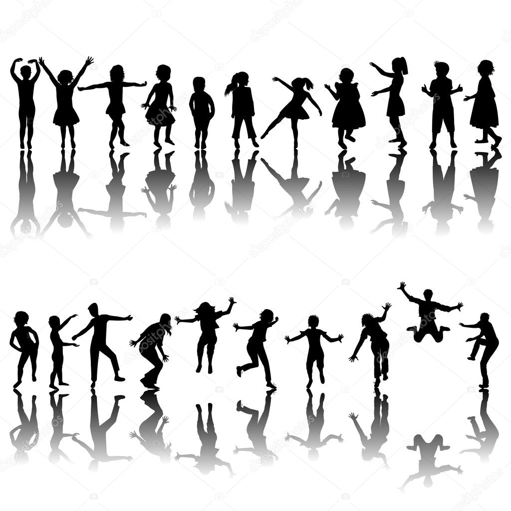 Hand drawn children silhouettes playing  Zdjcie stockowe #5689526