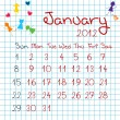 Calendar for January 2012 — Stock Photo