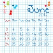 Calendar for June 2012 — Stock Photo