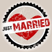 Grunge stamp with heart and Just Married — ストック写真