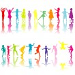 Collection of colored children silhouettes — Stock Photo
