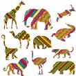 Set of African animals made of ethnic textures - Stock Photo