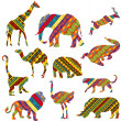 Stock Photo: Set of Africanimals made of ethnic textures