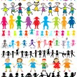 Stock Photo: Set of different and colored children silhouettes
