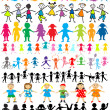 Set of different and colored children silhouettes — Stock Photo
