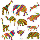 Set of African animals made of ethnic textures — Stock Photo