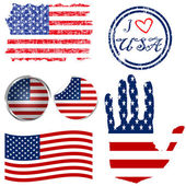 Set of American flags — Stock Photo