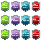 Glänzenden schilde in verschiedenen farben mit unterschiedlichen botschaften — Stockfoto