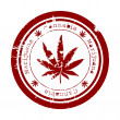 Red stamp with marijuana leaf — Stock Photo #5933852