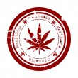 Stock Photo: Red stamp with marijuanleaf