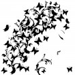 Woman profile with black butterflies - Stock Photo