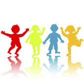 Colored children silhouettes playing — Stok fotoğraf