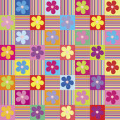 Pattern wth colored flowers and stripes — Stock Photo