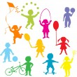 Stock Photo: Colored children silhouettes playing