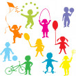 Colored children silhouettes playing — Stock Photo