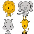 Stylized doodle jungle animals — Stock Photo