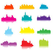 Colored castle silhouettes — Stock Photo