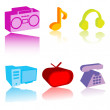 Colored electronic gadgets — Stock Photo