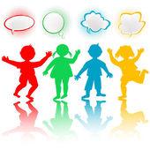 Färgade barn med chatt bubblor — Stockfoto