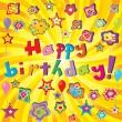 Banner with Happy Birthday and twirl - Stock Photo