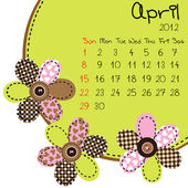 Kalender för 2012 april — Stockfoto
