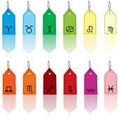 Colored tags with zodiacal signs — Stock Photo