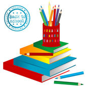 Illustration with books and pencils — Stock Photo