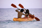 Couple in their kayak — Foto Stock