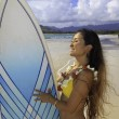 Royalty-Free Stock Photo: Japanese woman with surfboard in hawaii