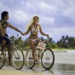 Newlywed couple on the beach with their bicycles — Foto Stock