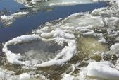 Floating of ice in spring — Stock Photo