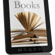 boeken over generieke tablet pc - digitale bibliotheek concept — Stockfoto