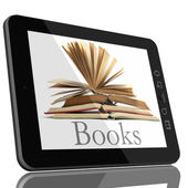 Tablet PC Computer and book - Digital Library Concept — Stock Photo
