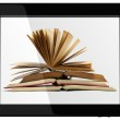 Generic Tablet Computer and book - Digital Library Concept — Stock Photo
