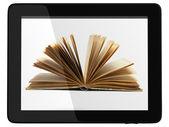 Generieke tablet pc en boek - digitale bibliotheek concept — Stockfoto