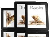Gruppe von tablet pc-computer und bücher — Stockfoto