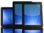 Gruppo di tablet pc con schermo blu — Foto Stock