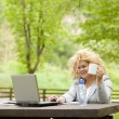Woman using laptop in park and drinking — Stock Photo #6283094